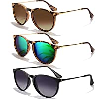 Sunglasses for Women Men Polarized uv Protection Wearpro Fashion Vintage Round Classic Retro Aviator Mirrored Sun glasses (eopard Frame/Green+leopard Frame/Brown Lens+black Frame/Gradient Gray)