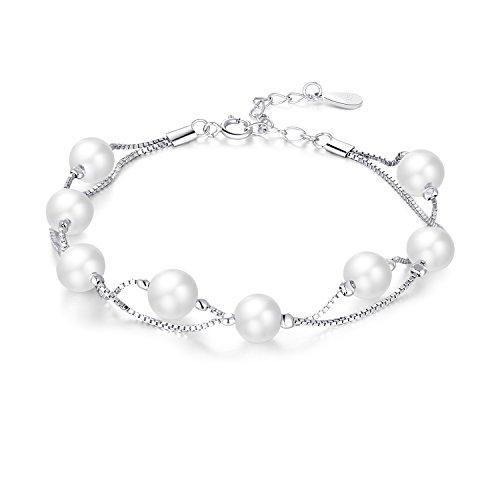 Pearl bracciali per donna con perle d' acqua dolce e argento Sterling 925placcato in oro bianco 18K due strati scatola catenella