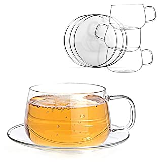 Tealyra - La Lune - 300ml - Set of 4 - Glass Tea and Coffee Cups with Saucer - Clear and Lightweight Glasses