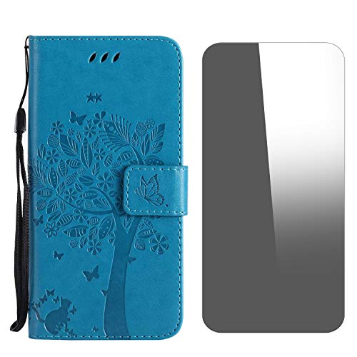 Galaxy J6 Plus 2018 Case, Conber Shockproof Leather Wallet Flip Case Cover + [Free Tempered Glass Screen Protector], Vintage Emboss Tree and Cat Design Case for Samsung Galaxy J6 Plus 2018 - Blue
