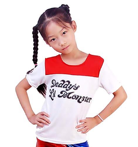 ) Gestricktes T-Shirt T-Shirt für Mädchen Harley Quinn Daddys Lil Monster Zubehör Verkleidung Mode Karneval Cosplay Halloween Kleidung Geschenkidee ()