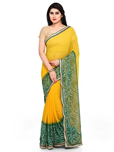 Womanista Women's Printed Faux Georgette Saree with Blouse Piece (FSP241-Yellow & Green-Free Size)