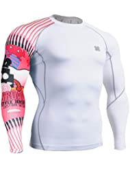 Fixgear Homme Femme Gym Compression Skin Tight Manches longues White