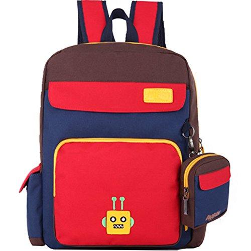Da Jia Inc Unisex Kinder Mädchen Schulrucksack Schultasche Freizeitrucksack Leichte Schule Tasche Lässig Daypack Reise Backpack für Schüler Outdoor Freizeit (Robot Blau,S) Robot Rot