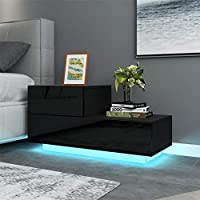 Homeaning High Gloss Front 2 Drawers Push-to-Open Bedside Cabinet Tables Side Nightstand Unit RGB LED Lights Modern Bedroom Furniture (Black)