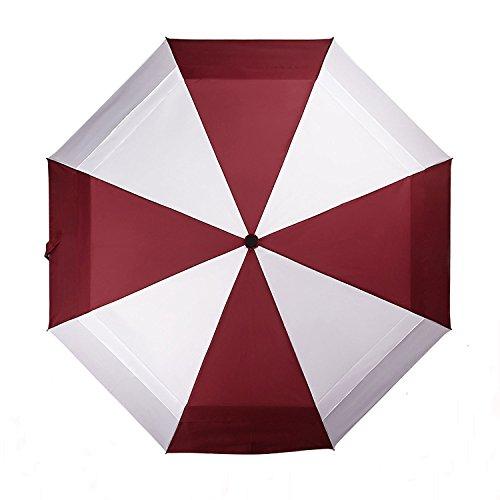 KOLER Reise Regenschirm, Winddicht, Auf Zu Automatik, Doppelt Bespannt, Regen und Sonnenschutz, 117 cm Übergröße Taschenschirm, 8 Speichen –Rot & Weiß (Einsteigen Fall)