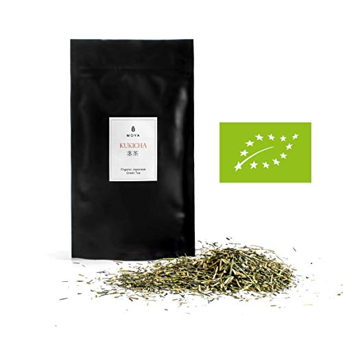 Moya Matcha Organic Loose Leaf Green Tea Kukicha | 100g | The Best Quality Tea from Japan | Friendly for Vegans and Vegetarians | Packed in a Resealable Bag