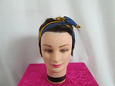 bandeau vintage rigide à nouer bleu, jaune et blanc motif africain