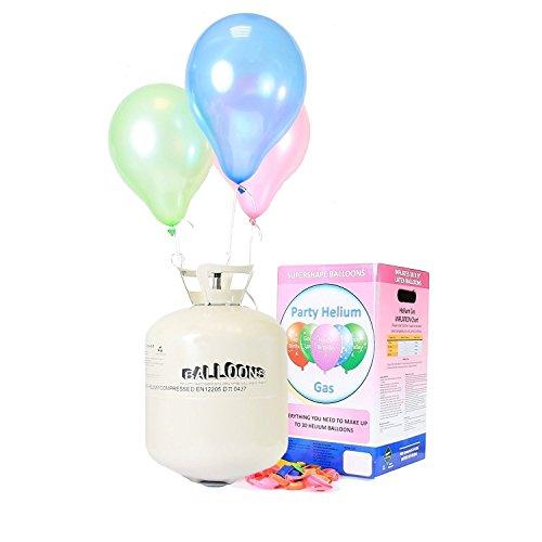 Gas-insel (Helium Ballongas XXL 420 Liter wegwerf Heliumbehälter - Party set inklusive 50 Luftballons & 5 Trendario LED Ballons)