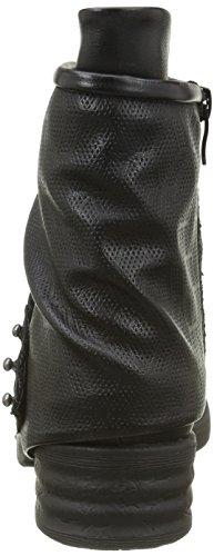 Angkorly - Scarpe Moda Stivaletti Scarponcini biker cavalier bi-materiale donna borchiati perforato corda Tacco a blocco 4 CM - soletta Foderato di Pelliccia Nero