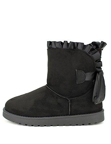Cendriyon Boots Noires Fourrées UKKA Chaussures Femme Noir