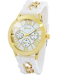 Geneva Roman Numeral White Dial Snake Chained Silicone Strap Analog Watch For Women, Girls