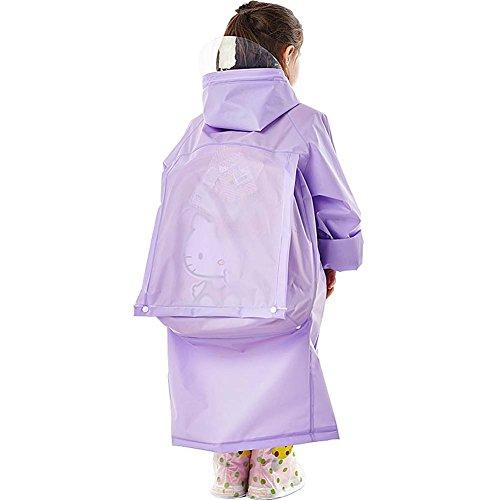 Kinder Männer Und Frauen Regenmantel Mit Erweiterbaren Tasche Student Im Freien Wasserdicht Lange Transparente Mütze Hut Poncho,Purple,XL