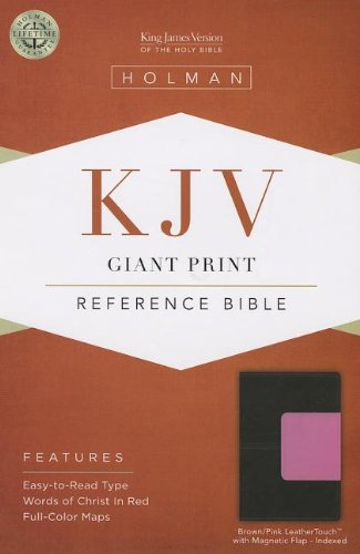 The Holy Bible: King James Version, Brown / Pink, LeatherTouch with Magnetic Flap, Giant Print Reference Bible