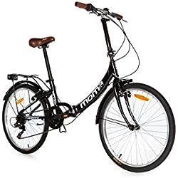 """Moma Bikes Bicicleta Plegable Urbana TOP CLASS 24"""" Alu, SHIMANO 6V. Sillin Confort"""