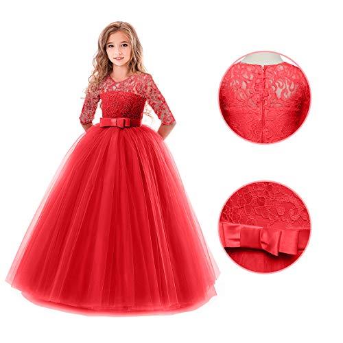 ec1ae7e914b2 ... Vestito Principessa in Pizzo Manica Mezza Abbigliamento Bambine  Invernale Eleganti Abito Principessa de Festa Cerimonia Sposa Sera per  Ragazza 2-14 Anni