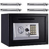 MMPY Caja de Seguridad de 16L, Mecanismo de Acero con Teclado numérico y 2 Teclas de Cubierta y 4 Pernos de Montaje - Negro