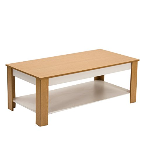 CTF Hagen Wohnzimmer Couchtisch/TV Ständer/TV-Tisch in Farbe Eiche & Weiß 120x 60cm