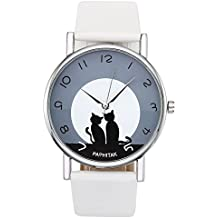 JSDDE Womens Cat Pattern Round Dial White Artificial Leather Band Arabic Numerals Quartz Analog Watch 3ATM Waterproof