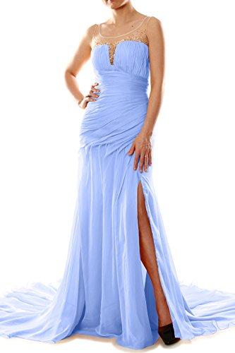 MACloth Women Mermaid Chiffon Long Prom Dress Formal Evening Party Ball Gown Sky Blue