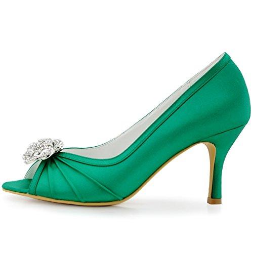 Elegantpark EP2094 Bout Ouvert Crinklinge Satin Pompes Moyen Talon Femmes Soiree Chaussures de Mariee AF01 Vert