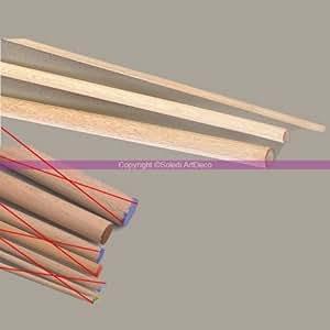 Bacchetta rotonda, diametro 15 mm, da 1 metro Bastone in legno di faggio, confezione da 10