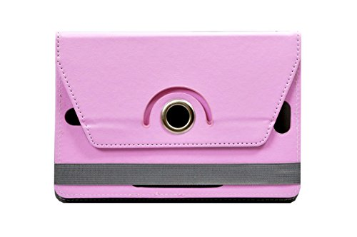 """Hello Zone Exclusive 360° Rotating 8"""" Inch Flip Case Cover Book Cover for Micromax Canvas P666 -Baby Pink"""
