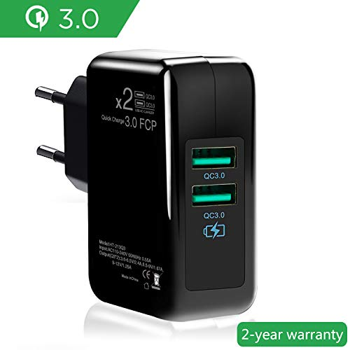 ONELY Dual Quick Charge 3.0 USB Caricatore rapido Caricabatterie,30W Doppia QC3.02.0 Smart Alimentatore USB Adattatore di Alimentazione e Ricarica Caricatore per SamsungiPhoneiPad Huawei Goo