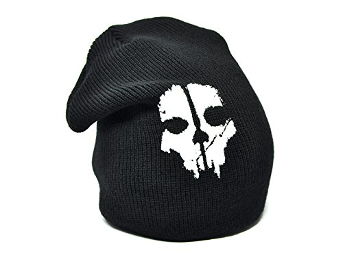 Schwarze Beanie mit Call of Duty Motiv CoD Mütze Ghosts (Beanie Call Of Duty)