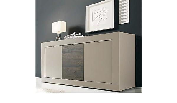 Riflessi Credenza Moderna Prezzi : Madia moderna ante in legno bicolore beige opaco e rovere scuro