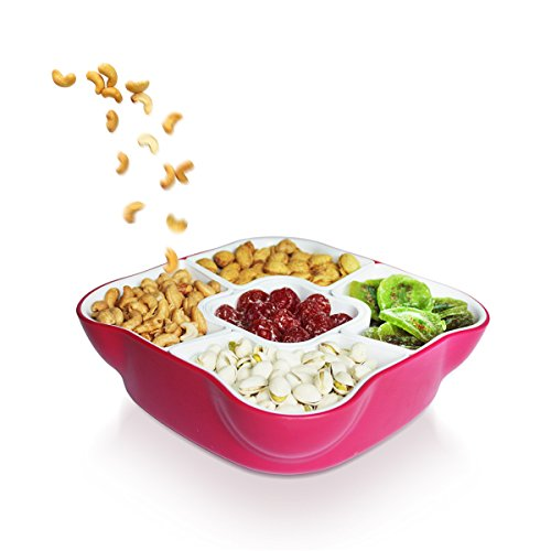 Creative Multi Sectional Snack Serving Tray Set with Lid. Can Hold Dried Fruits, Nuts, Candies, and More. Server Tray/Snack Dish/Serving Bowl Set(Red) by GoStock - Sectional-server