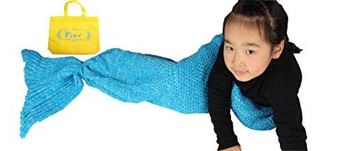 Yier® Meerjungfrau Tail Decke Häkeln für Kinder Wohnzimmer Schlafzimmer Sofa Super Soft Decken ()
