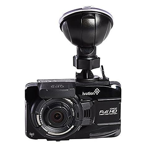 Ivation 1080p HD Caméra enregistreur vidéo et GPS, objectif grand angle 140 °, détection de mouvement, capteur G, Bougeoir, objectif, faible lumière WDR et Moniteur De Stationnement