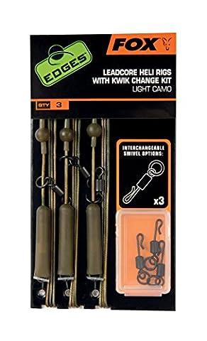 Fox Edges Leadcore Heli Rigs with Kwik Change Kit, Helikopter Montage, Karpfenmontage, Farbe:Light Camo