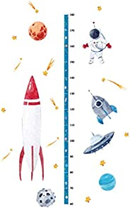 Cartoon Outer Space Height Measure Wall Stickers Home Decor Chart Ruler Decoration For Kids Rooms Decals