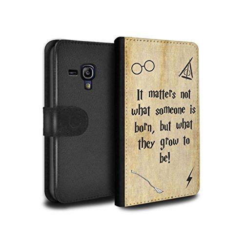 Stuff4® PU-Leder Hülle/Case/Tasche/Cover für Samsung Galaxy S3 Mini/Born & Grow Muster/Schule der Magie Film Zitate Kollektion