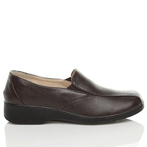 Calcanhar Tamanho Cunha Gore Salto Ir Conforto Senhoras Escuro De Trabalhando Sapatos De Marrom Pequeno WPUYPnC