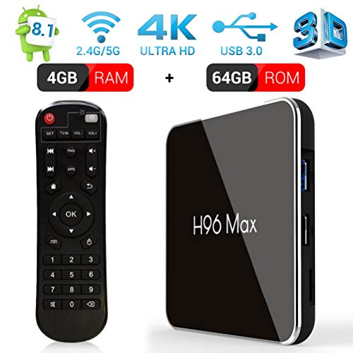 Android TV Box 4GB RAM 64GB ROM H96 MAX X2 Android Box mit Amlogic S905X2 Quad-Core Unterstützung 2.4G/5.8G Dual WiFi BT4.0 HDMI2.1 USB3.0 H.265 Media Player Android 8.1 TV Box