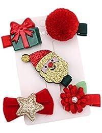 Spaufu 5Pcs Horquillas Pinzas de Pelo de Navidad para Niña Niño Bebé Lindo Accesorio para el Cabello Antideslizante Trajes de Navidad