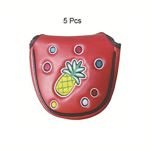 Belingeya-sp Golfschlägerhaube, 5 Stück, halbrund, PU-Leder, Golfschlägerhaube, Standardgröße, Rot, PU, rot, One Size -