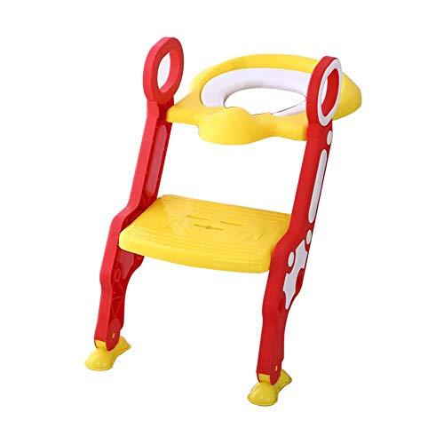 Glenmore Scaletta per Bambini Riduttore Scaletta WC Pieghevole Plastica(Giallo)