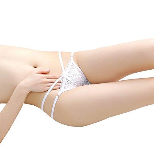Fayear Pack of 2pcs Damen Spitzen Lace Thong Tangas G-String Schlüpfer Weiße