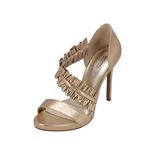 Michael Kors Donna Sandalo Bella Open Toe in Pelle Oro con Fascia Ruches. Tacco 10,5 cm Color Oro Size IT 39 - EU 39 (US 8.5)