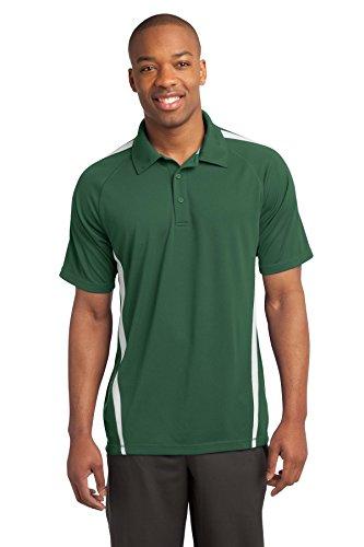 sport-tek Herren Micro Mesh Colorblock Polo Shirt grün - Forest Green/ White