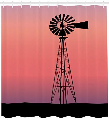 ABAKUHAUS Windmühle Duschvorhang, Verträumter westlicher Sonnenuntergang, mit 12 Ringe Set Wasserdicht Stielvoll Modern Farbfest und Schimmel Resistent, 175x240 cm, Schwarz Korallenrot und Lila