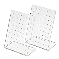 72 Holes Earring Holder Ear Stud Holders Ear Studs Stand Jewelry Earring Displays Organizer, Transparent, 2 Pieces