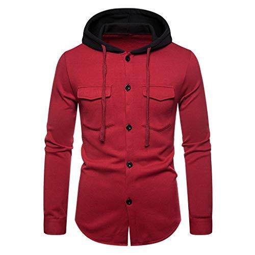YAYAKI Kapuzenpullover Herren Mode Einfarbig Schaltflächen Lange Ärmel Shirt Bequem Freizeit Tasche Langärmliges T-Shirt Hoodie (Rot,3XL