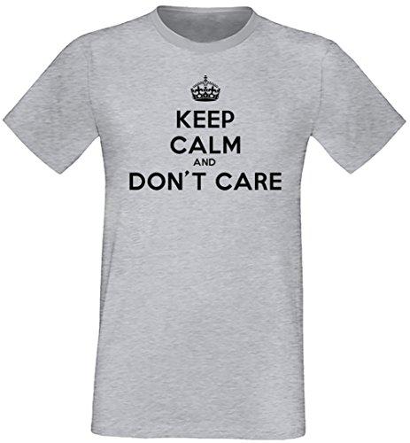 Keep Calm And Don't Care Uomo T-shirt Grigio Cotone Girocollo Maniche Corte Grey Men's T-shirt
