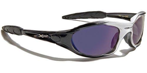Occhiali da Sole X-Loop - Sport - Ciclismo - Sci - Mtb - Moto - Arrampicata - Running / Mod 010P Grigio Nero Blu Specchio