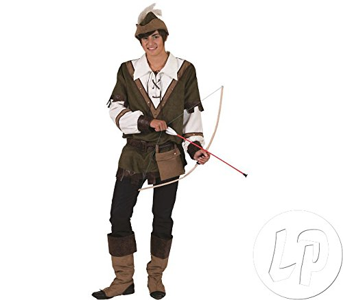 Kostüm Robin Gürtel - Pierro´s Kostüm Sir Locksley Robin Hood Herrenkostüm Oberteil Hut Gürtel mit Tasche Beinstulpen Größe 48 50 52 54 56 58 60 62 für Karneval, Fasching, Halloween, Motto Party / Abenteuer, Geschichten